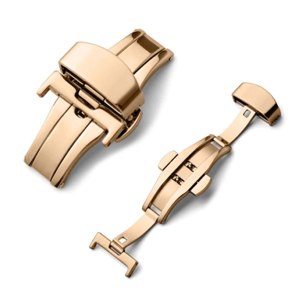 Fecho Borboleta Premium em Aço Inoxidável Rose Gold para Pulseira de Relógio Smartwatch 22mm