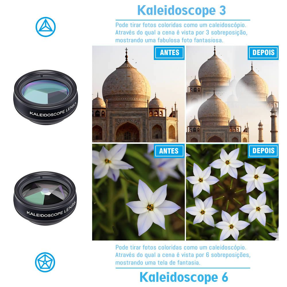 KIT Apexel 10 Lentes para Celulares Universal - Wide - Macro - Cpl - Radial - Fisheye - Telescópio - Caleidoscópio - Filtros - Modelo APL-DG10