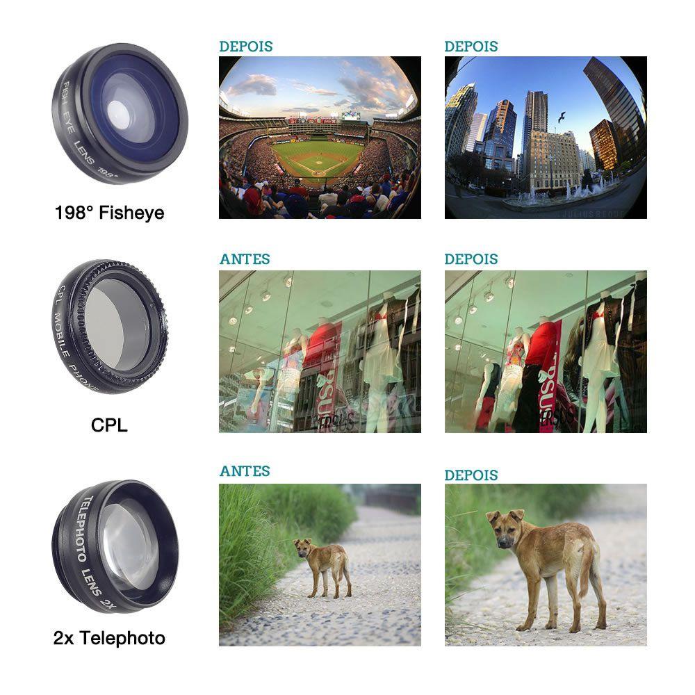 KIT Apexel 5 Lentes para Celulares Universal - Wide 0.63x - Macro 15x - Fisheye 198º - Telescópio 2X - CPL - Modelo APL-DG5H