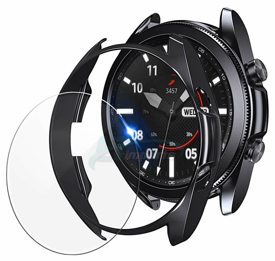 KIT Capa protetora Bumper Case + Película de Vidro para o relógio Galaxy Watch 3 45mm
