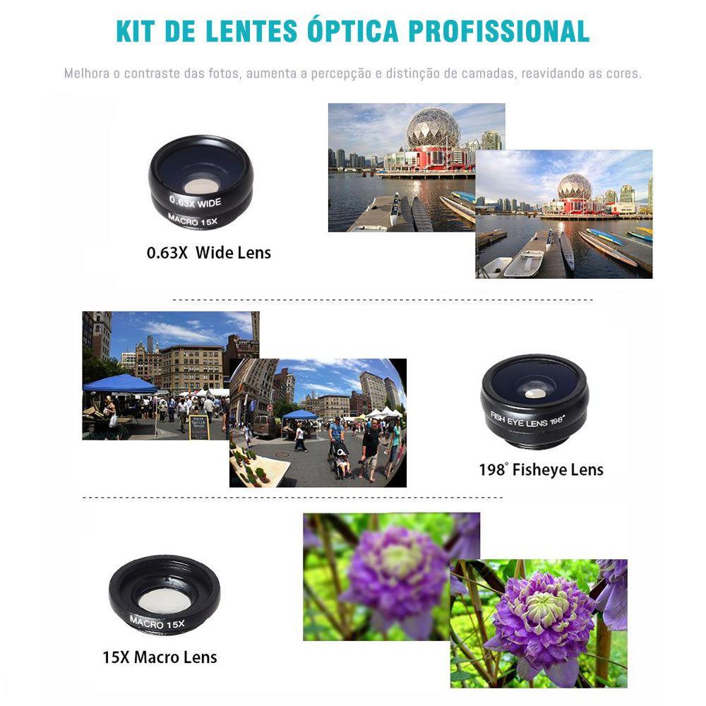 KIT Apexel Lente Zoom 18x Universal para Celulares - Macro - Wide - Fisheye - Zoom - Modelo APL-T18XBZJ5