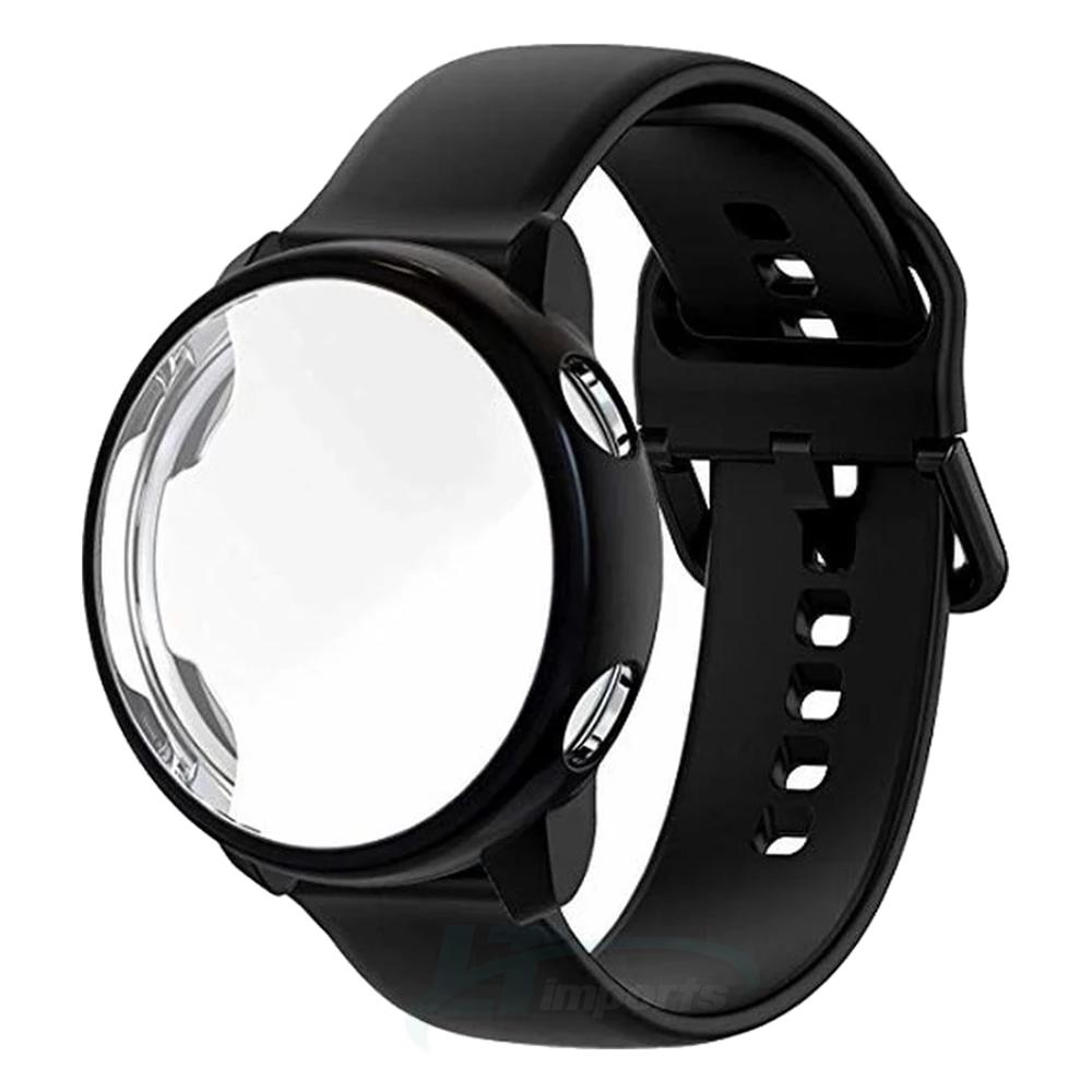 KIT Pulseira + Capa Protetora compatível com Galaxy Watch Active 40mm Sm-R500 (PRETO)