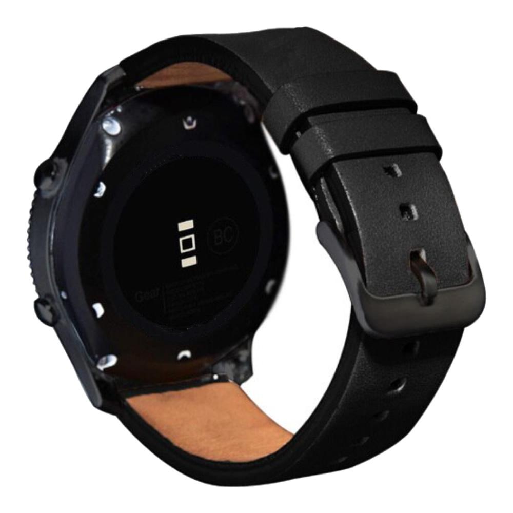 Pulseira 20mm Couro compatível com Samsung Galaxy Watch Active 1 e 2 - Galaxy Watch 3 41mm - Galaxy Watch 42mm - Amazfit GTR 42mm (PRETO)