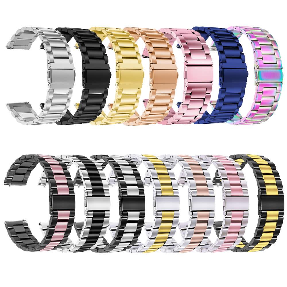 Pulseira 20mm Metal 3 Elos compatível com Samsung Galaxy Watch Active 1 e 2 - Galaxy Watch 3 41mm - Galaxy Watch 42mm - Amazfit GTR 42mm
