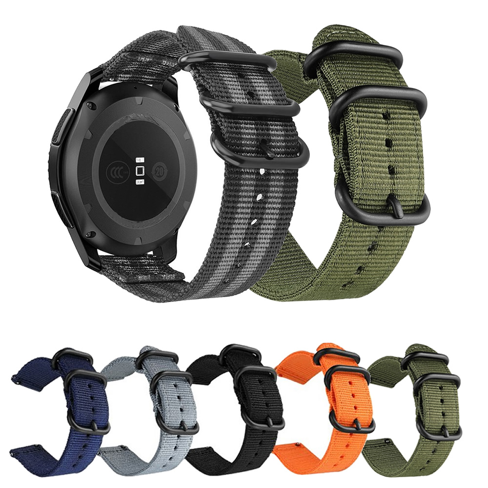 Pulseira 20mm Militar Nylon compatível com Samsung Galaxy Watch Active 1 e 2 - Galaxy Watch 3 41mm - Galaxy Watch 42mm - Amazfit GTR 42mm