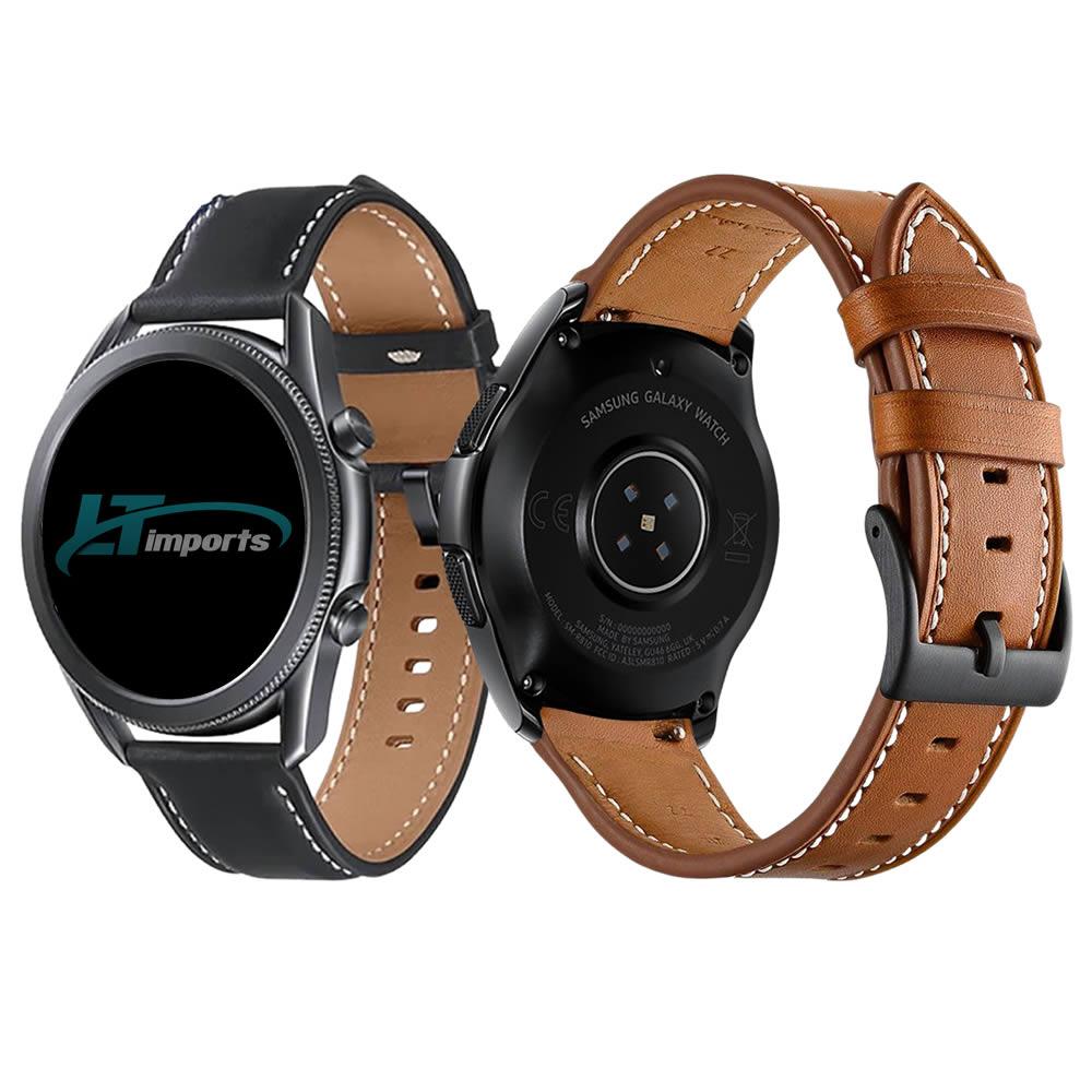Pulseira 22mm Couro Padrão compatível com Samsung Galaxy Watch 3 45mm - Galaxy Watch 46mm - Gear S3 Frontier - Amazfit GTR 47mm