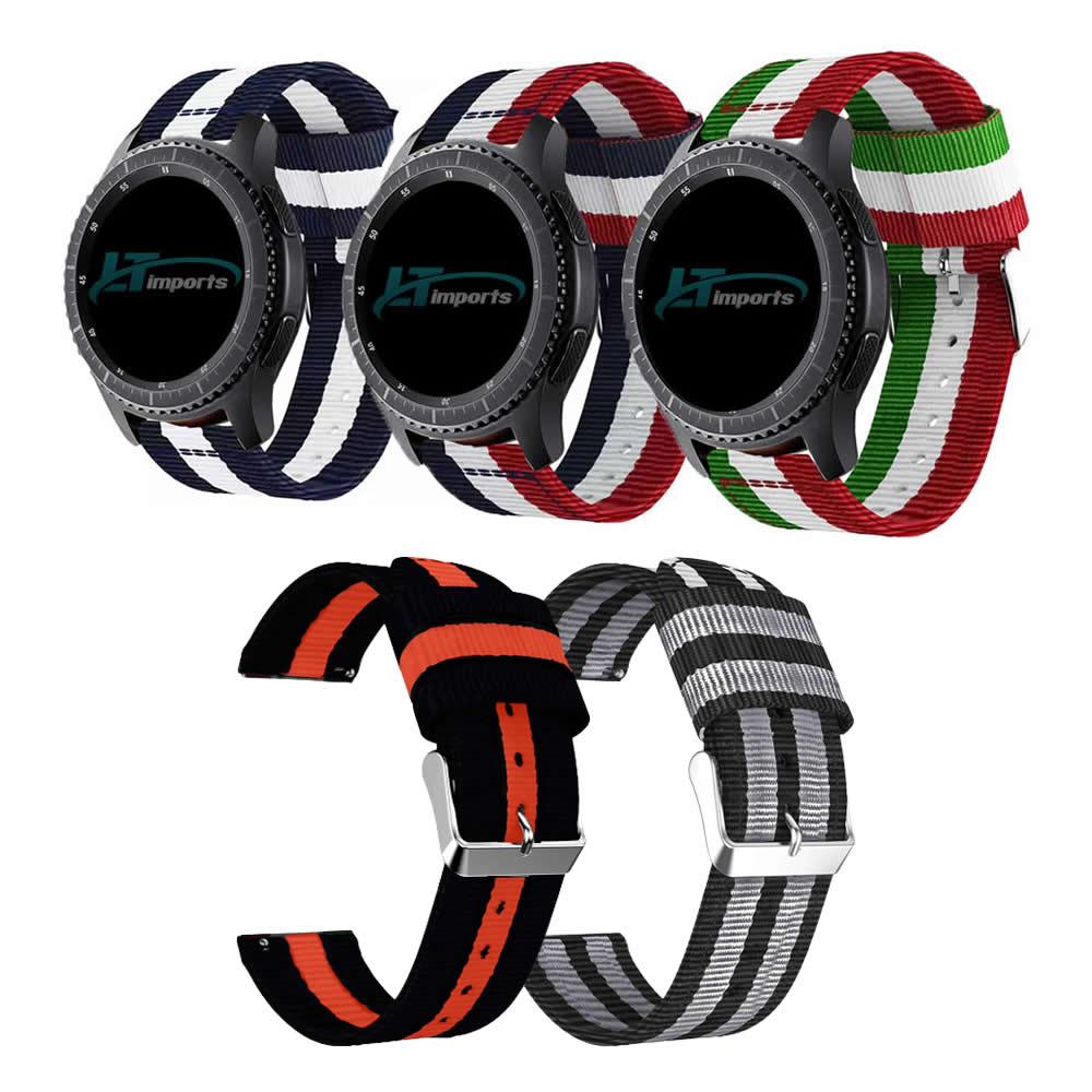 Pulseira 22mm Nylon Listrada compatível com Samsung Galaxy Watch 3 45mm - Galaxy Watch 46mm - Gear S3 Frontier - Amazfit GTR 47mm