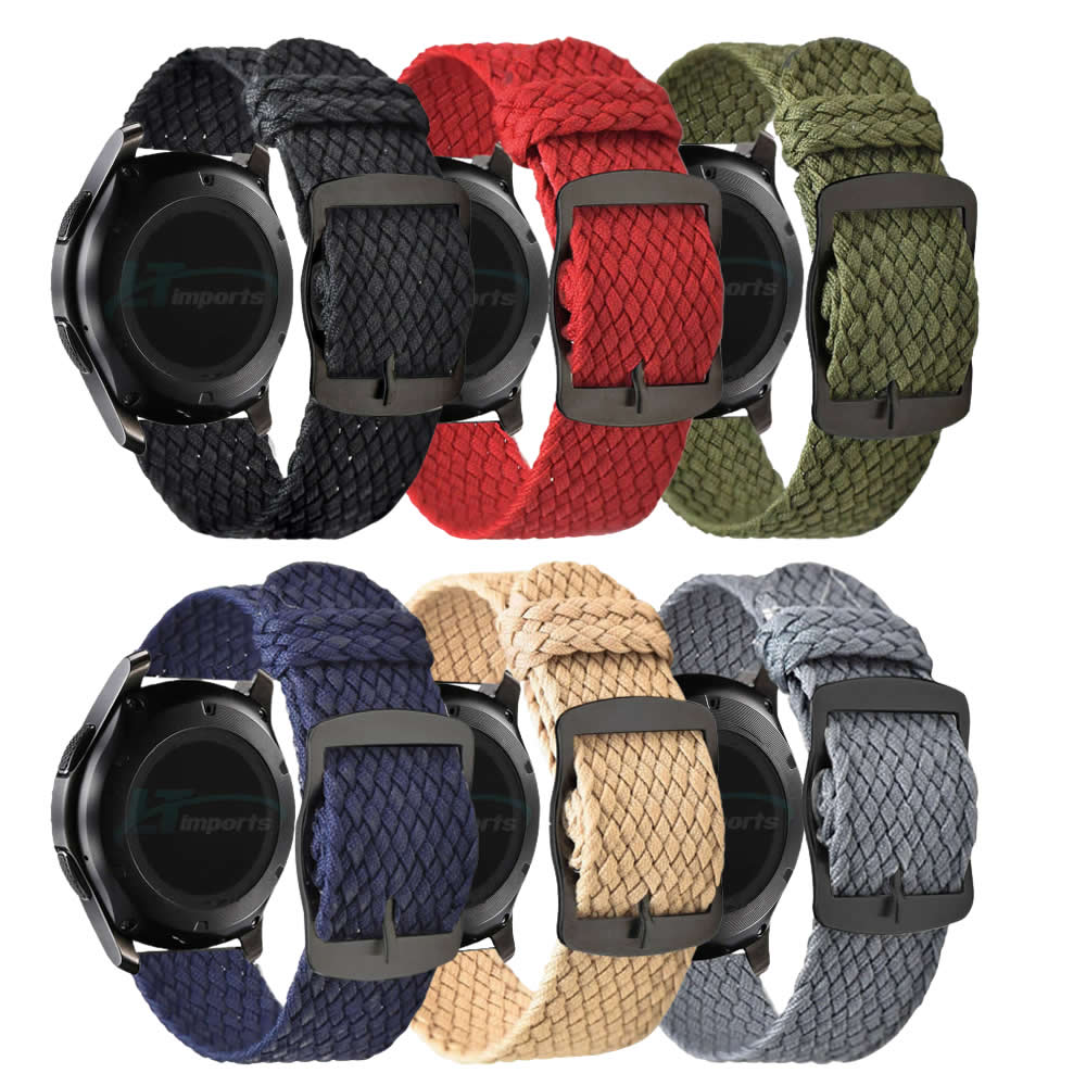 Pulseira 22mm Nylon Militar Trançada compatível com Galaxy Watch 3 45mm - Galaxy Watch 46mm - Gear S3 Frontier - Amazfit GTR 47mm