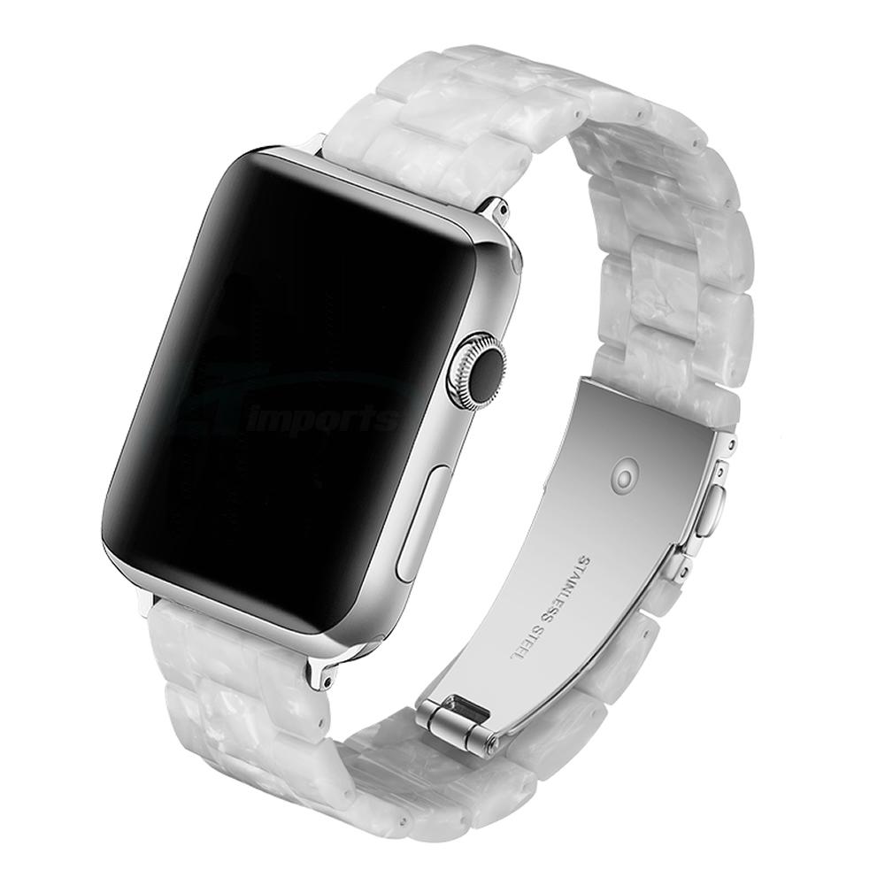 Pulseira 3 Elos Resina compatível com Apple Watch 42mm e 44mm (BRANCO PEROLA)