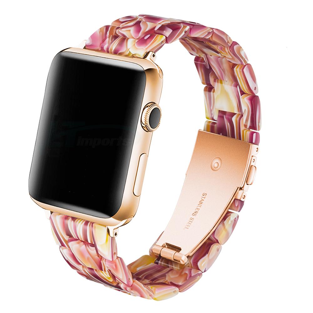 Pulseira 3 Elos Resina compatível com Apple Watch 42mm e 44mm (PRIMAVERA)