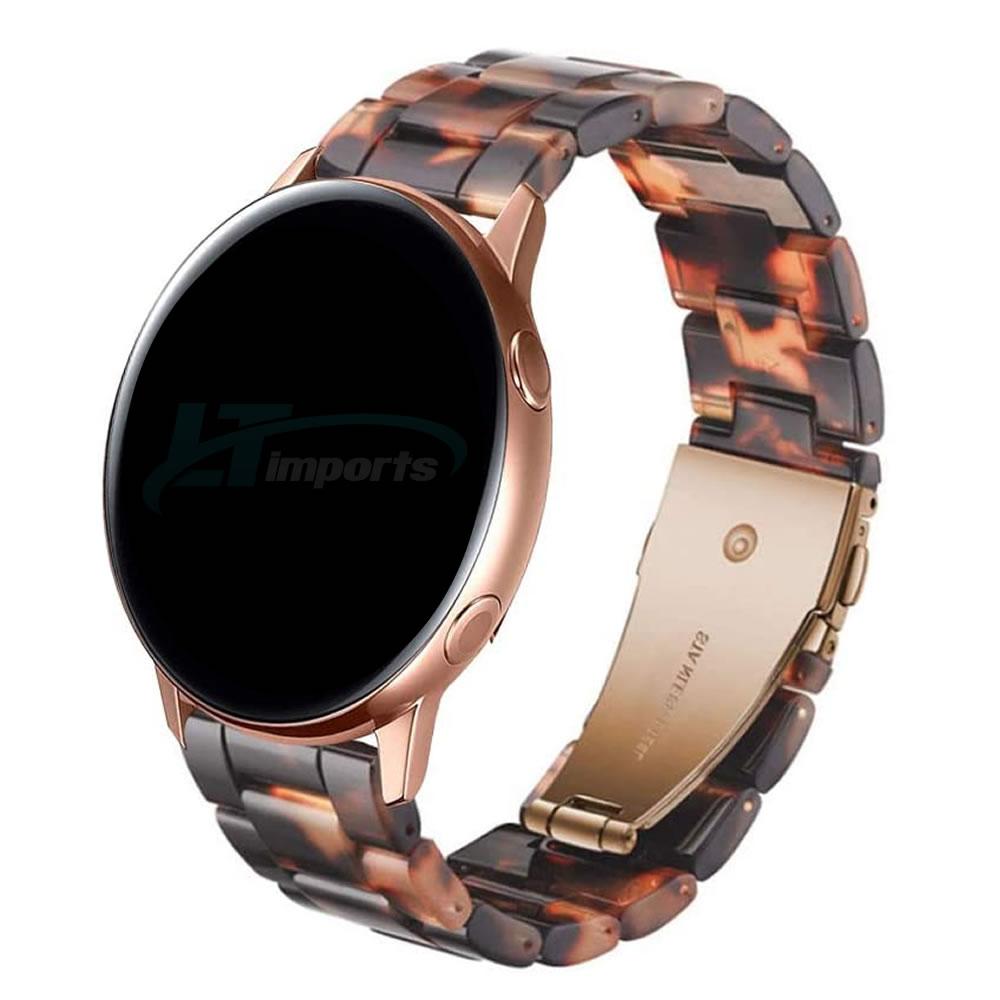 Pulseira 3 Elos Resina compatível com Samsung Galaxy Watch Active 1 e 2 - Galaxy Watch 3 41mm - Galaxy Watch 42mm - Amazfit BIP - GTS - GTR 42mm (Tartaruga)