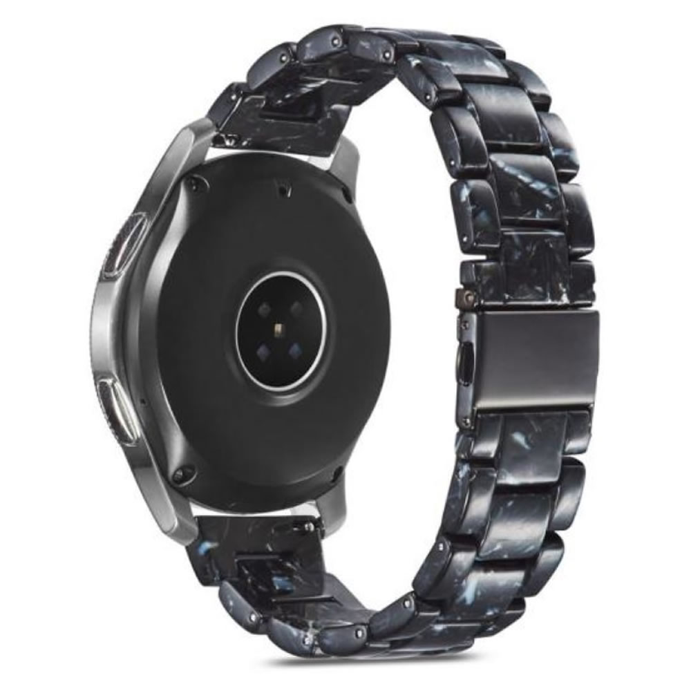 Pulseira 3 Elos Resina compatível com Samsung Galaxy Watch Active 1 e 2 - Galaxy Watch 3 41mm - Galaxy Watch 42mm - Amazfit BIP - GTS - GTR 42mm (Perola Negra)