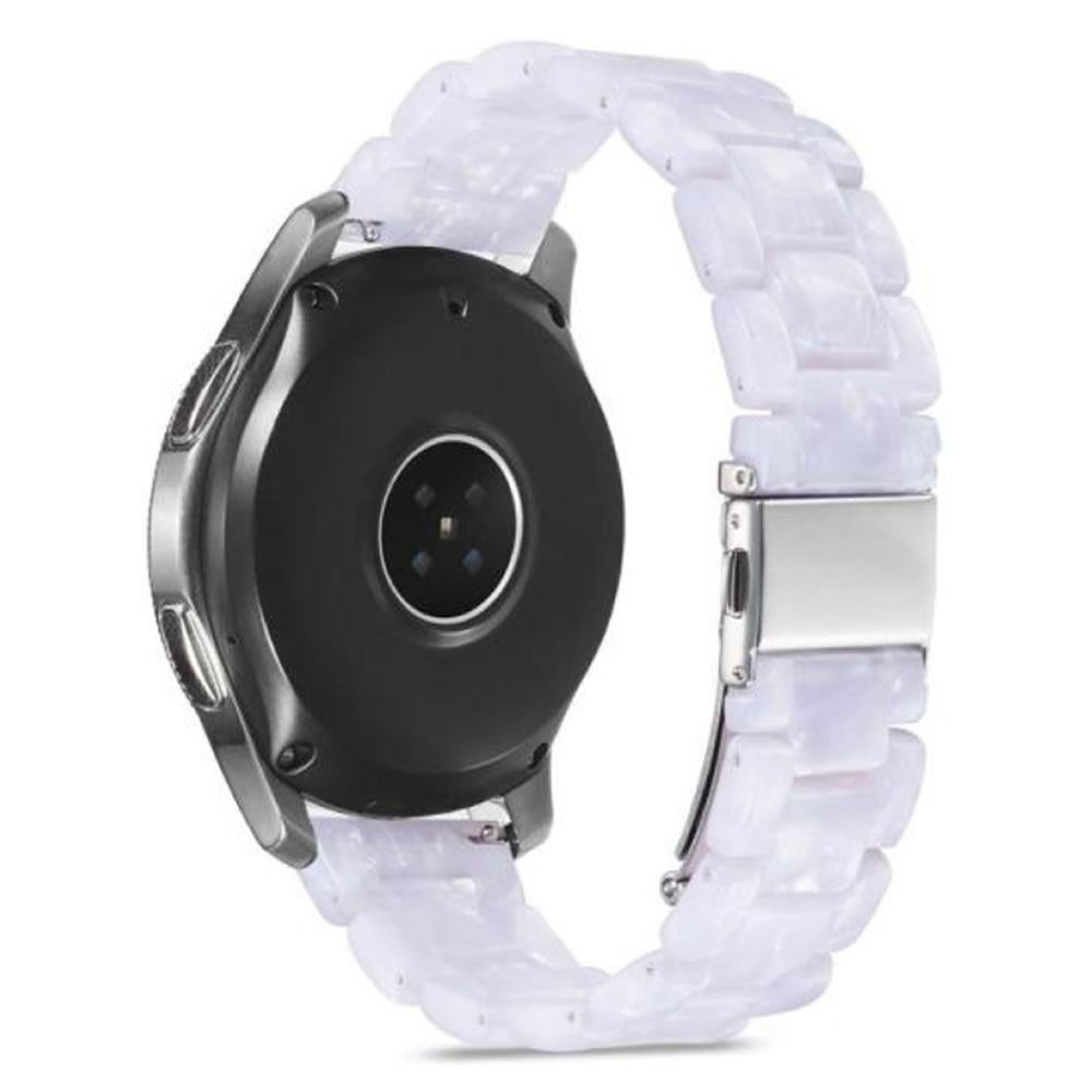 Pulseira 3 Elos Resina compatível com Samsung Galaxy Watch Active 1 e 2 - Galaxy Watch 3 41mm - Galaxy Watch 42mm - Amazfit BIP - GTS - GTR 42mm (Branco Perola)