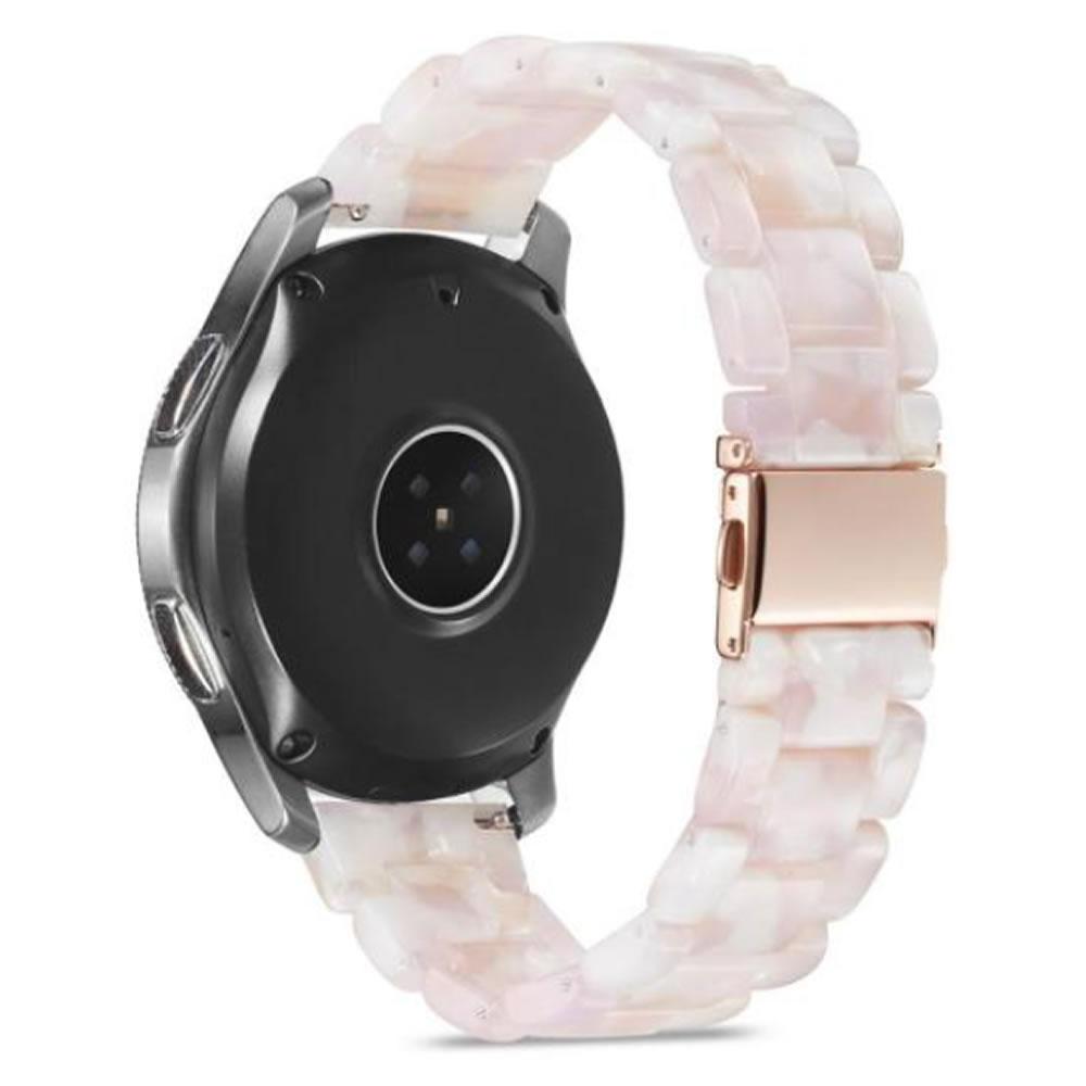 Pulseira 3 Elos Resina compatível com Samsung Galaxy Watch Active 1 e 2 - Galaxy Watch 3 41mm - Galaxy Watch 42mm - Amazfit BIP - GTS - GTR 42mm (Quartzo Rosa)