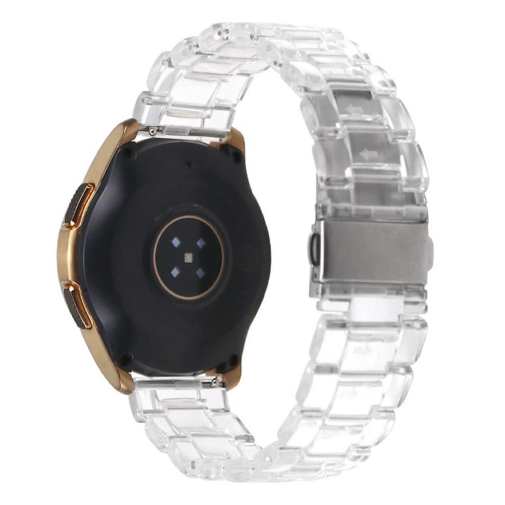 Pulseira 3 Elos Resina compatível com Samsung Galaxy Watch Active 1 e 2 - Galaxy Watch 3 41mm - Galaxy Watch 42mm - Amazfit BIP - GTS - GTR 42mm (Transparente)