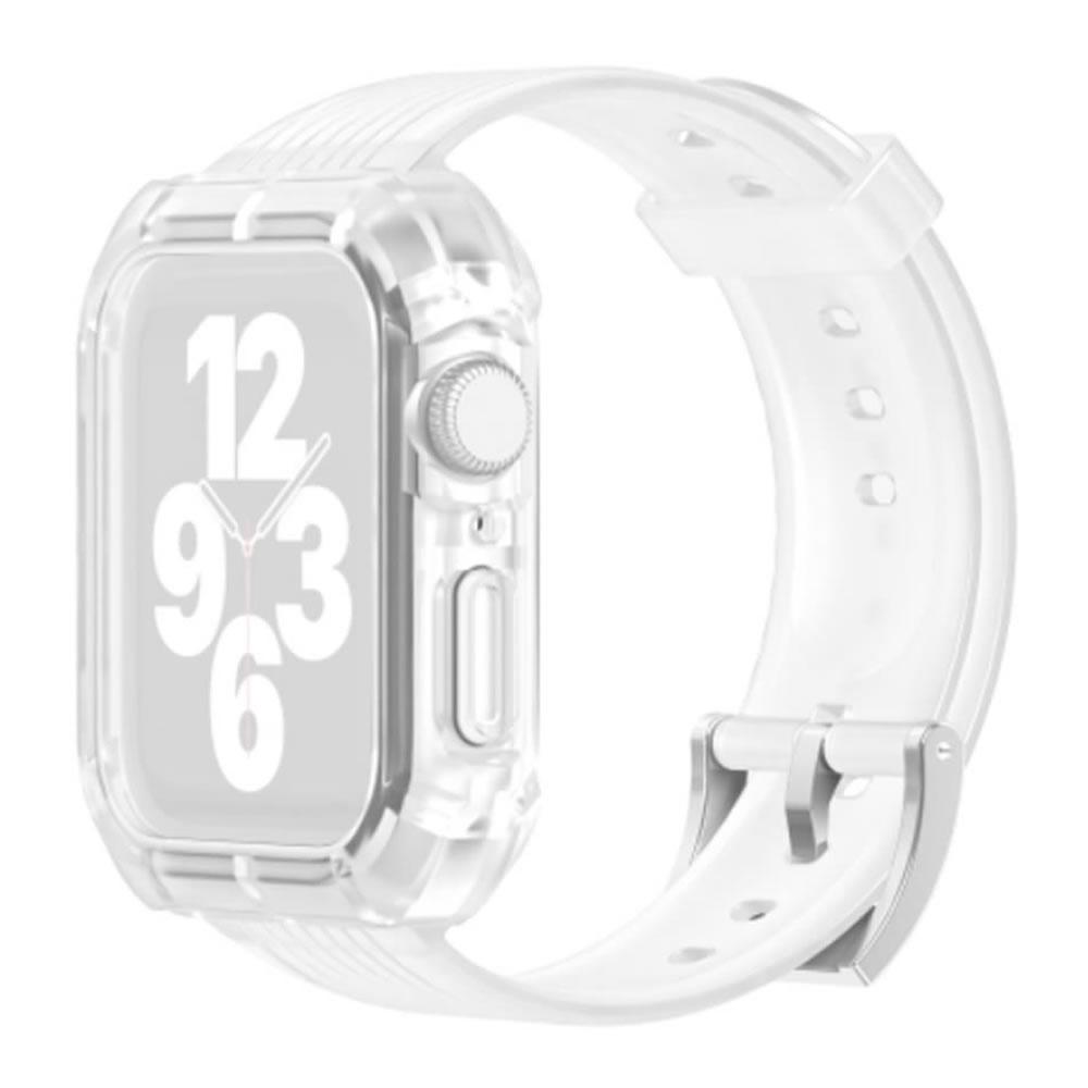 Pulseira Capa Armadura compatível com Apple Watch 44mm Series 4, 5, 6 e SE (Transparente)