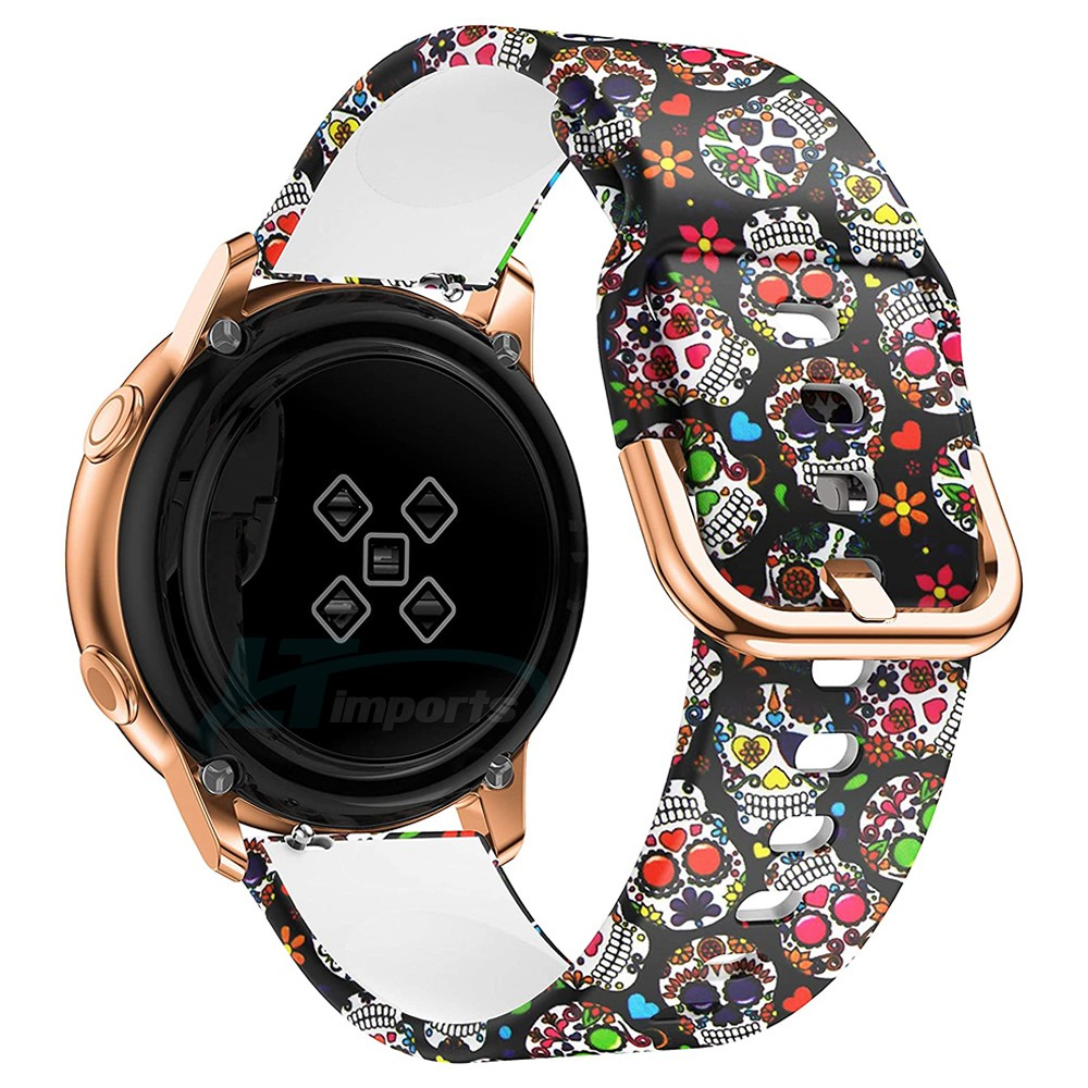 Pulseira Caveira Mexicana compatível com Samsung Galaxy Watch Active 40mm 44mm - Galaxy Watch 3 41mm - Galaxy Watch 42mm - Amazfit GTR 42mm