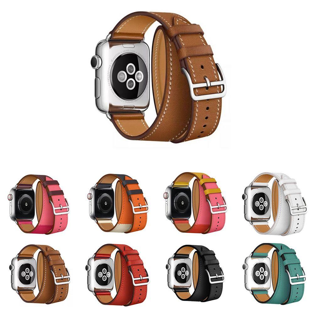 Pulseira de Couro Double Tour compatível com Apple Watch 40mm e 38mm