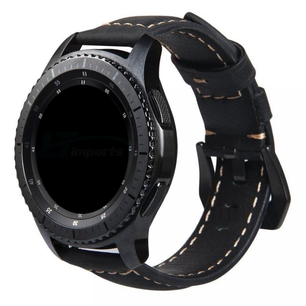 Pulseira Couro BK compatível com Samsung Galaxy Watch 3 45mm - Galaxy Watch 46mm - Gear S3 Frontier - Amazfit GTR 47mm (PRETO)