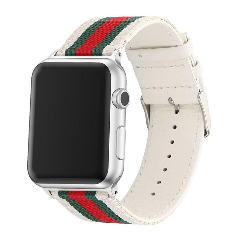 Pulseira Couro e Nylon compatível com Apple Watch 40mm e 38mm (BRANCO)