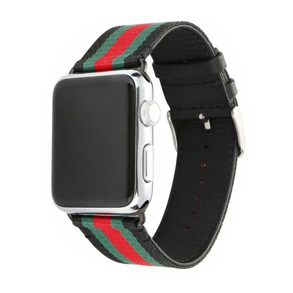 Pulseira Couro e Nylon compatível com Apple Watch 40mm e 38mm (PRETO)