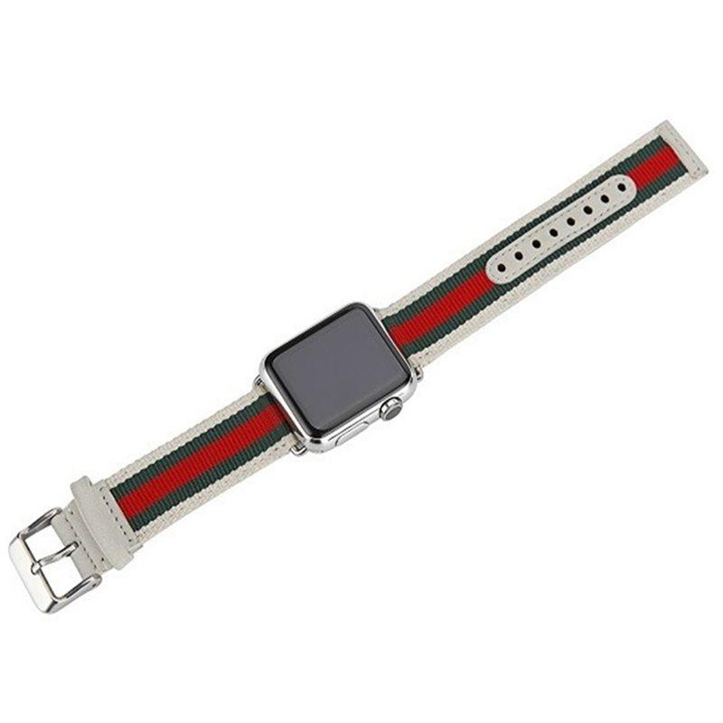 Pulseira Couro e Nylon compatível com Apple Watch 44mm e 42mm (BRANCO)