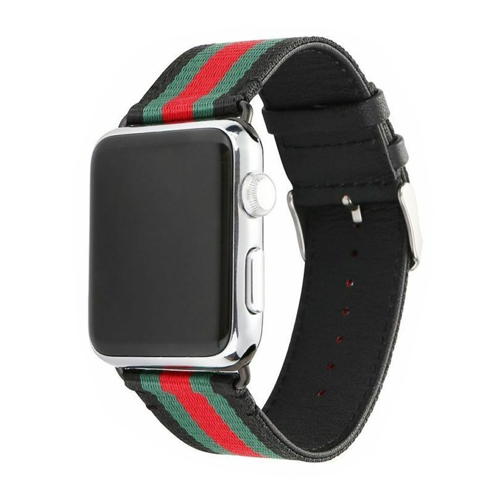 Pulseira Couro e Nylon compatível com Apple Watch 44mm e 42mm (PRETO)