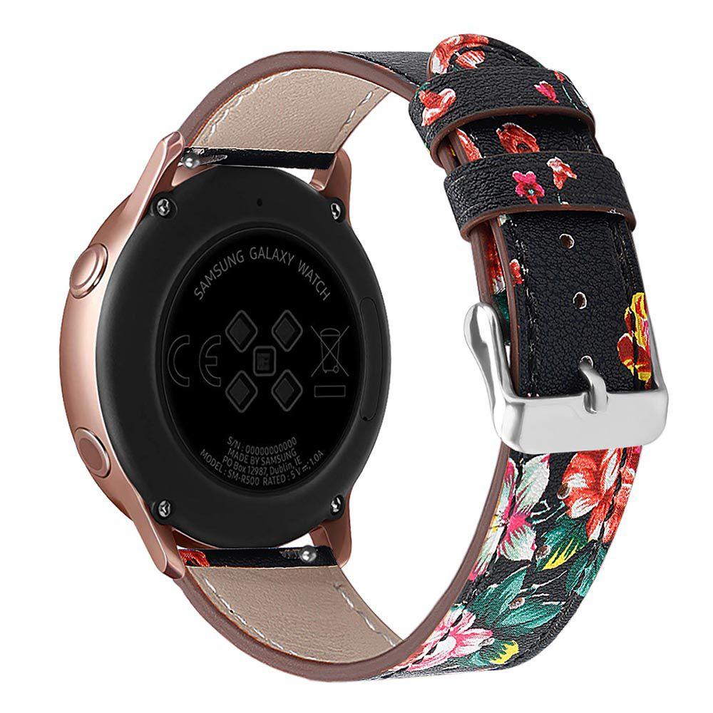 Pulseira Couro Floral para Samsung Galaxy Watch Active 40mm - Gear S2 Classic - Gear Sport R600 - Galaxy Watch 42mm - Amazfit Gtr 42mm