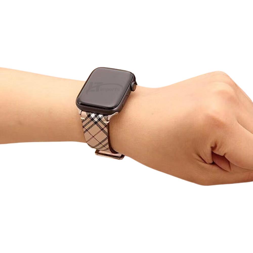 Pulseira Couro Listrada compatível com Apple Watch 40mm e Apple Watch 38mm