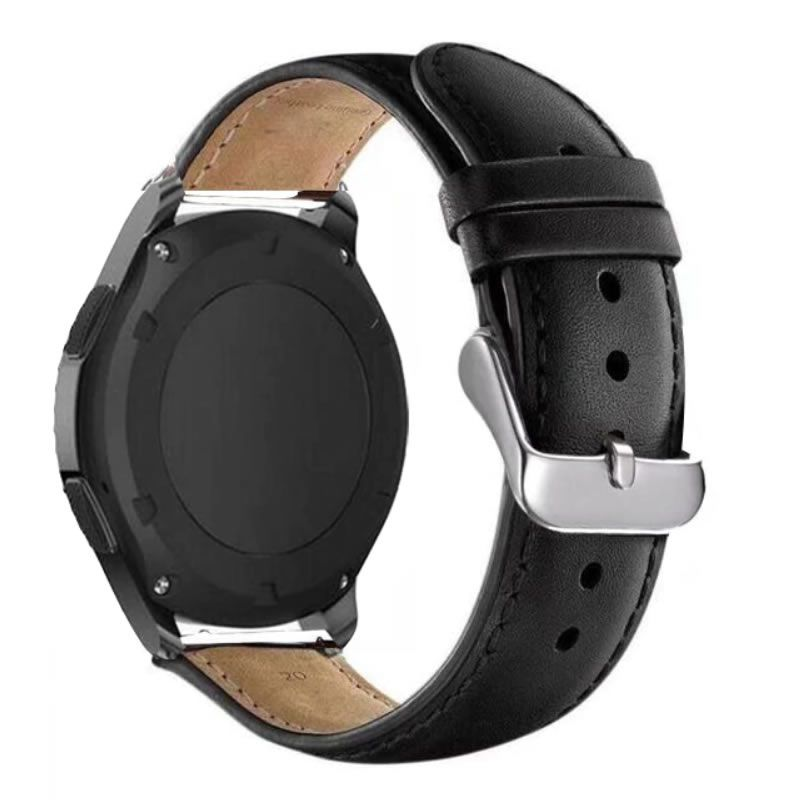 Pulseira Clássica Couro compatível com Galaxy Watch Active 40mm 44mm - Galaxy Watch 3 41mm - Galaxy Watch 42mm - Amazfit GTR 42mm (PRETO)