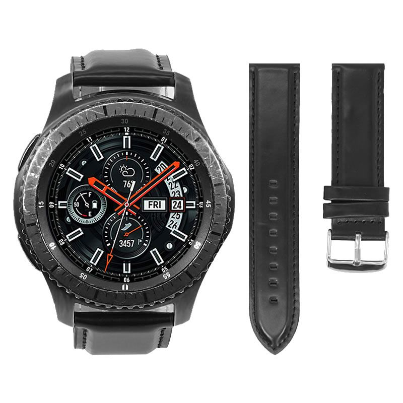 Pulseira Clássica de Couro compatível com Samsung Galaxy Watch 3 45mm - Galaxy Watch 46mm - Gear S3 Frontier - Amazfit GTR 47mm (PRETO)