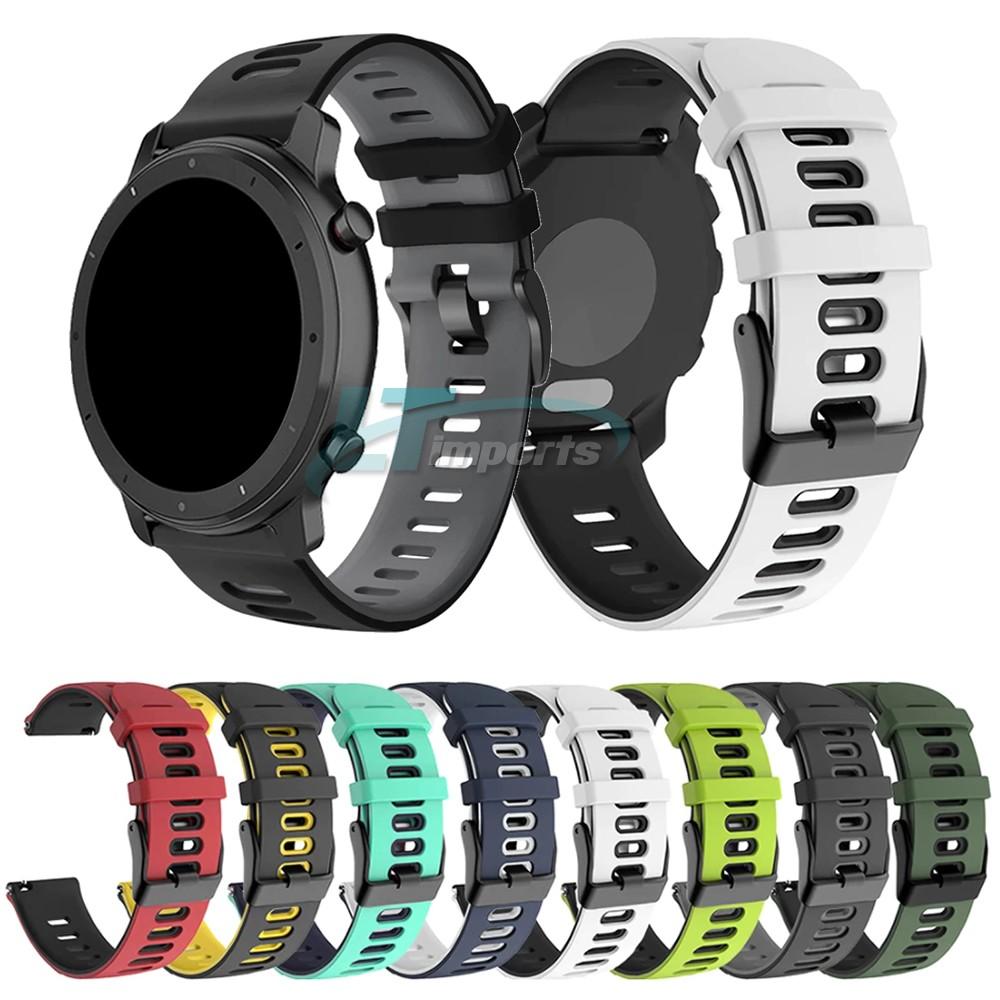 Pulseira de Borracha Dual compatível com Samsung Galaxy Watch 3 45mm - Galaxy Watch 46mm - Gear S3 Frontier - Amazfit GTR 47mm