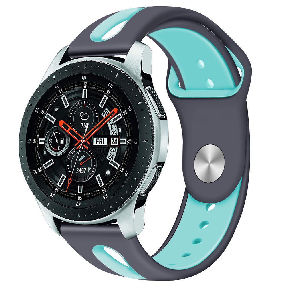 Pulseira de Borracha compatível com Samsung Galaxy Watch 3 45mm - Galaxy Watch 46mm - Gear S3 Frontier - Amazfit GTR 47mm (CINZA / AZUL)