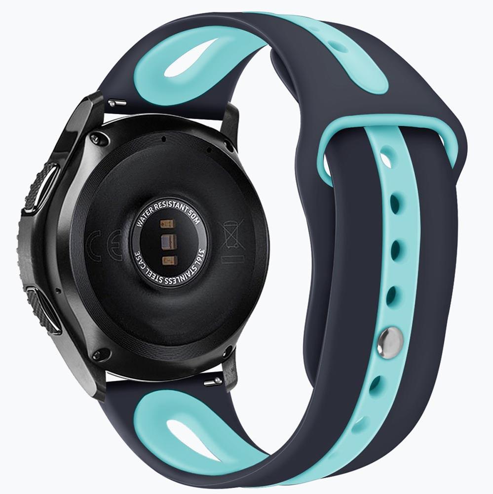 Pulseira de Borracha compatível com Samsung Galaxy Watch 3 45mm - Galaxy Watch 46mm - Gear S3 Frontier Classic - Amazfit GTR 47mm  (CINZA / AZUL)