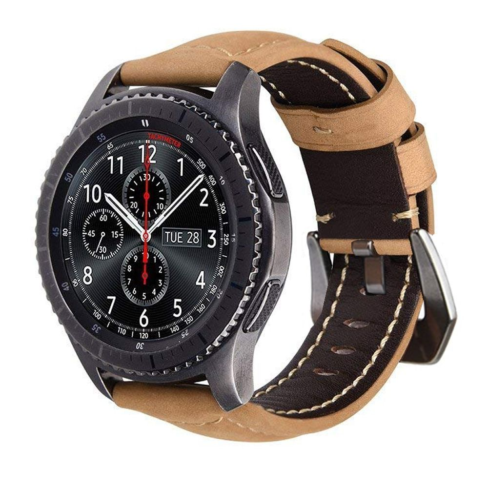 Pulseira Couro BK compatível com Samsung Galaxy Watch 3 45mm - Galaxy Watch 46mm - Gear S3 Frontier - Amazfit GTR 47mm - Huawei Watch GT2 46mm (CAQUI)