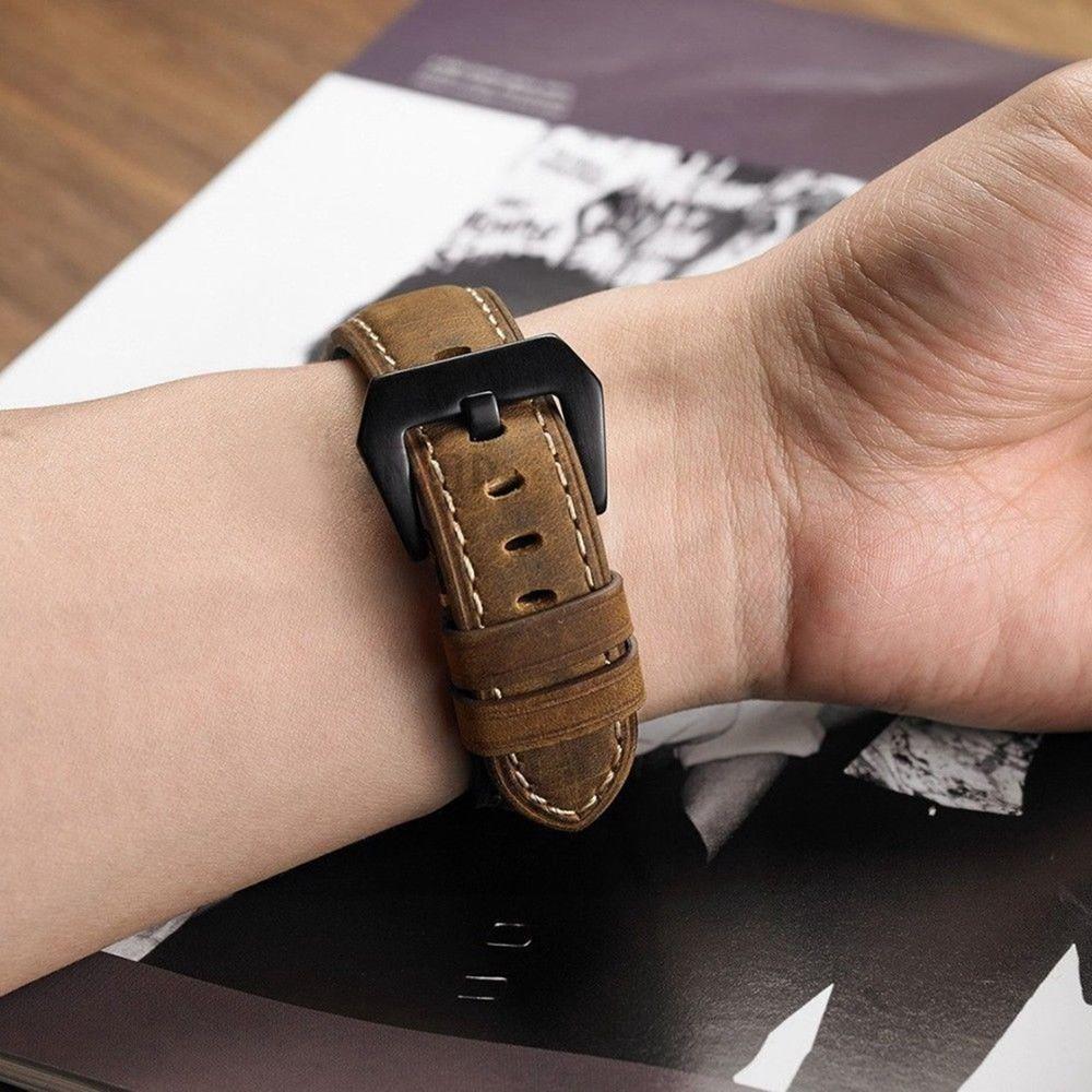 Pulseira Couro BK compatível com Samsung Galaxy Watch 3 45mm - Galaxy Watch 46mm - Gear S3 Frontier - Amazfit GTR 47mm Huawei Watch GT2 46mm (MARROM)