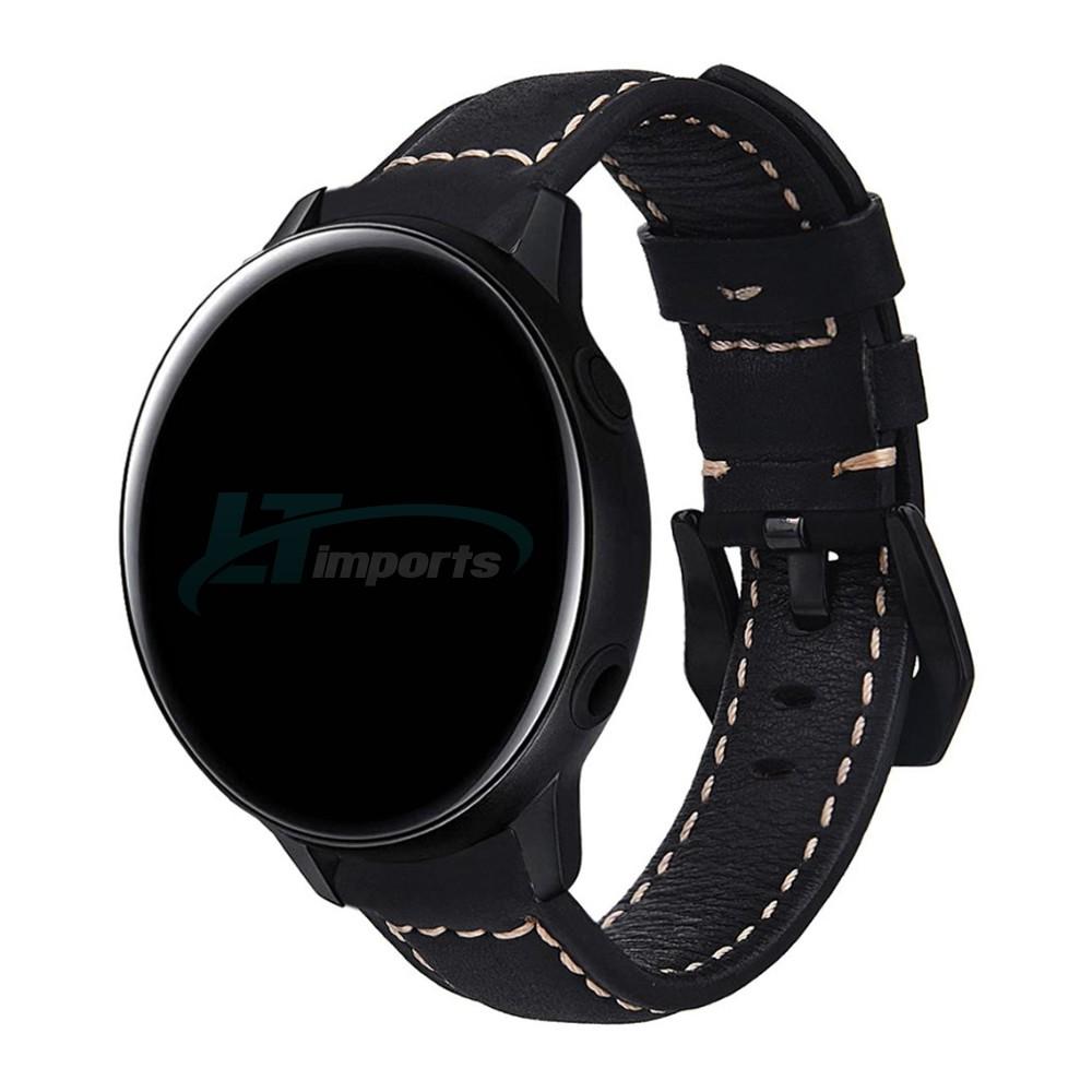 Pulseira de Couro BK para Samsung Galaxy Watch Active 40mm e 44mm - Gear S2 Classic - Galaxy Watch 42mm - Amazfit Bip - Amazfit Gtr 42mm (Preto)