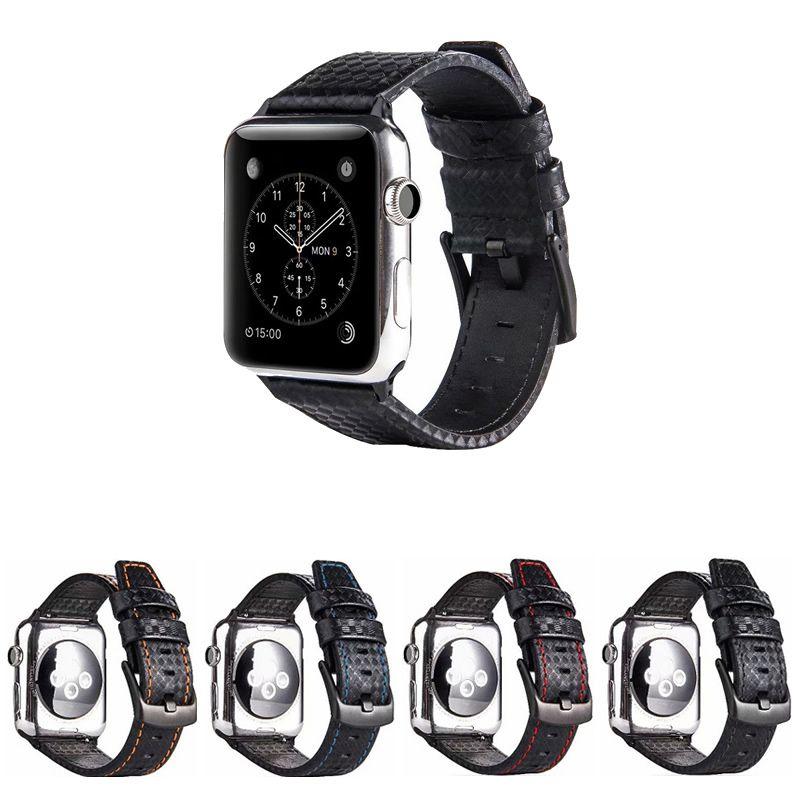 Pulseira de Couro Carbon compatível com Apple Watch 44mm e 42mm