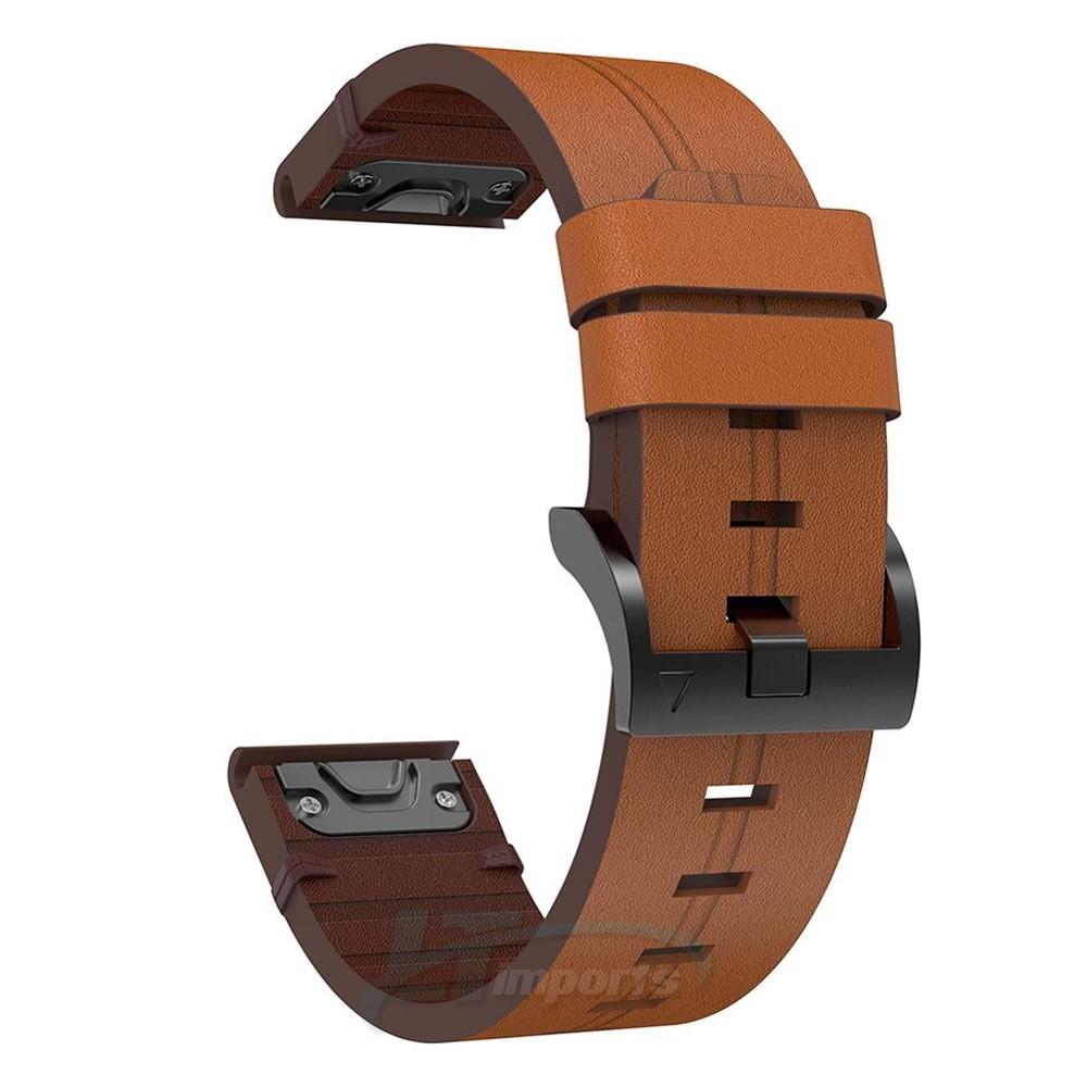 Pulseira de Couro compatível com Garmin Fenix 6 - Fenix 5 - Fenix 5 Plus - Forerunner 935 - Forerunner 945 - Quatix 5
