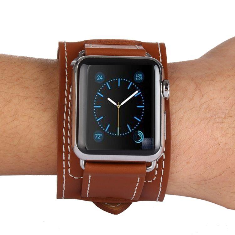 Pulseira de Couro Cuff compatível com Apple Watch 40mm e 38mm (MARROM)