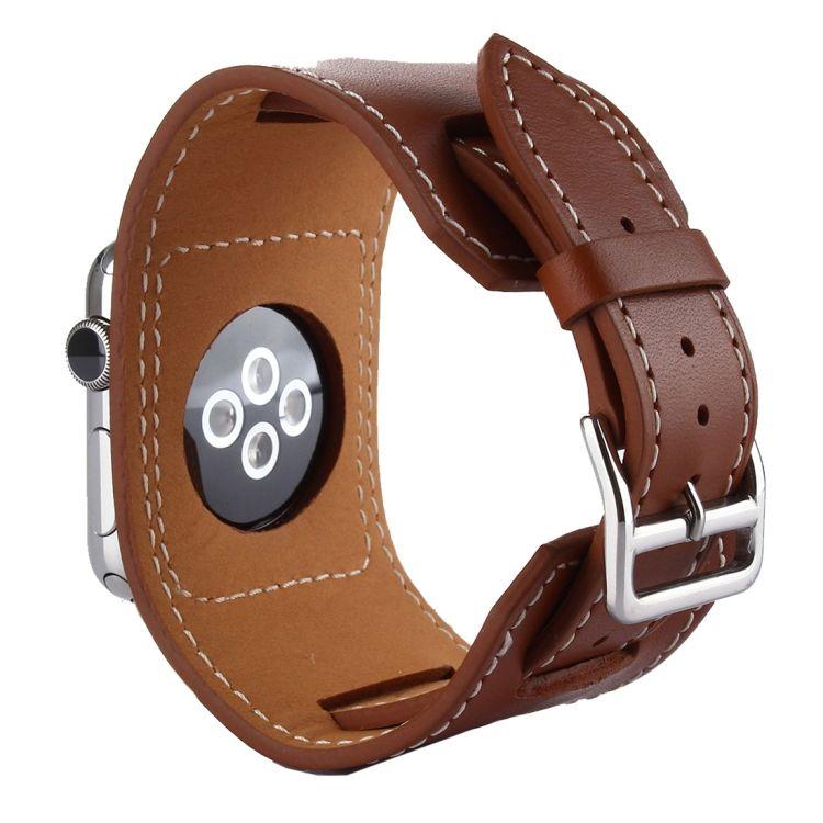 Pulseira de Couro Cuff compatível com Apple Watch 44mm e 42mm (MARROM)
