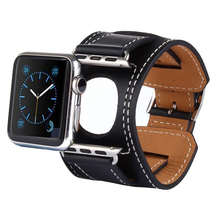 Pulseira de Couro Cuff para Apple Watch 44mm e 42mm (Preto)