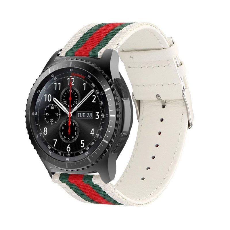 Pulseira Couro+Nylon compatível com Samsung Galaxy Watch 3 45mm - Galaxy Watch 46mm - Gear S3 Frontier - Gear S3 Classic - Amazfit GTR 47mm (BRANCO)