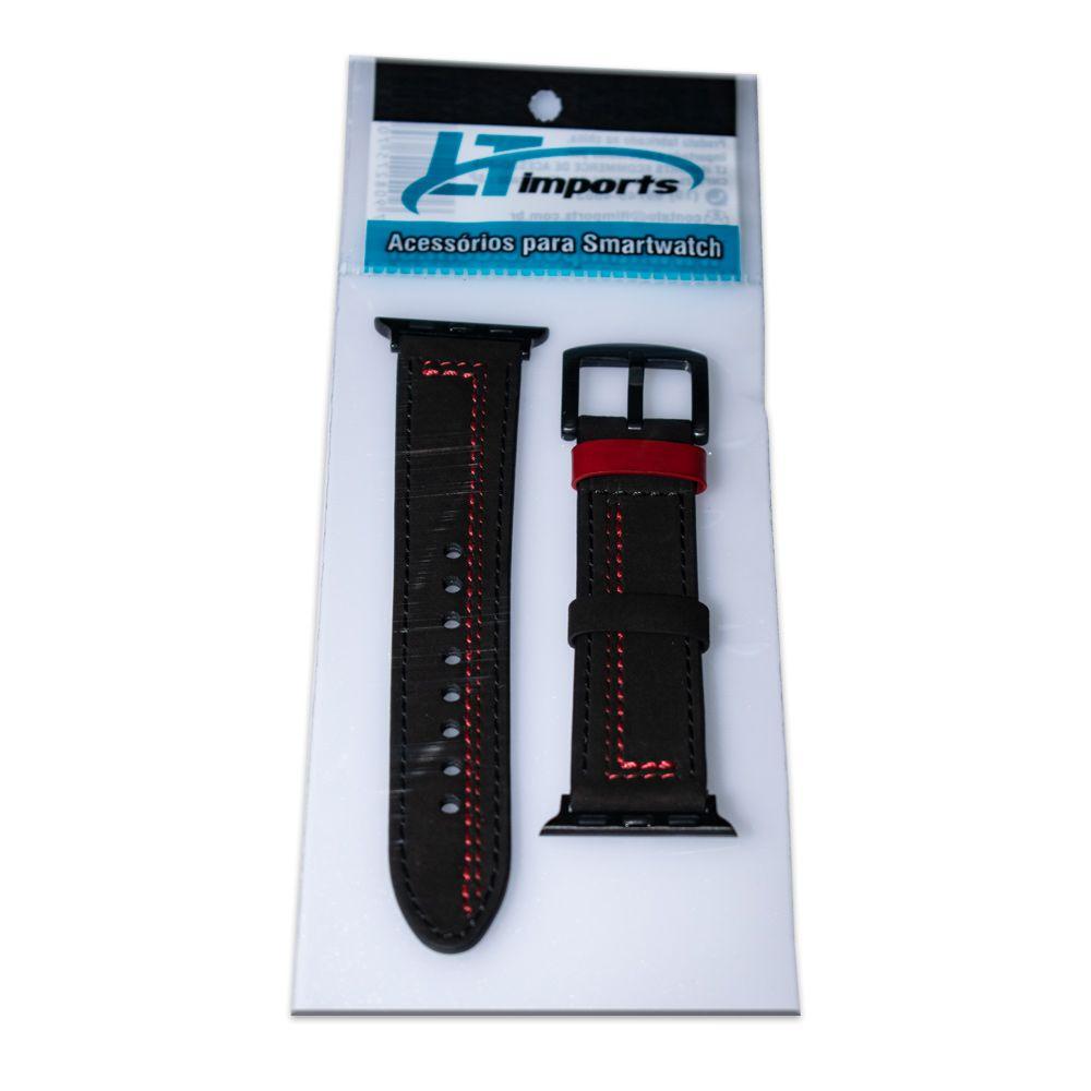 Pulseira de Couro Especial compatível com Apple Watch 44mm e 42mm (PRETO COM VERMELHO)