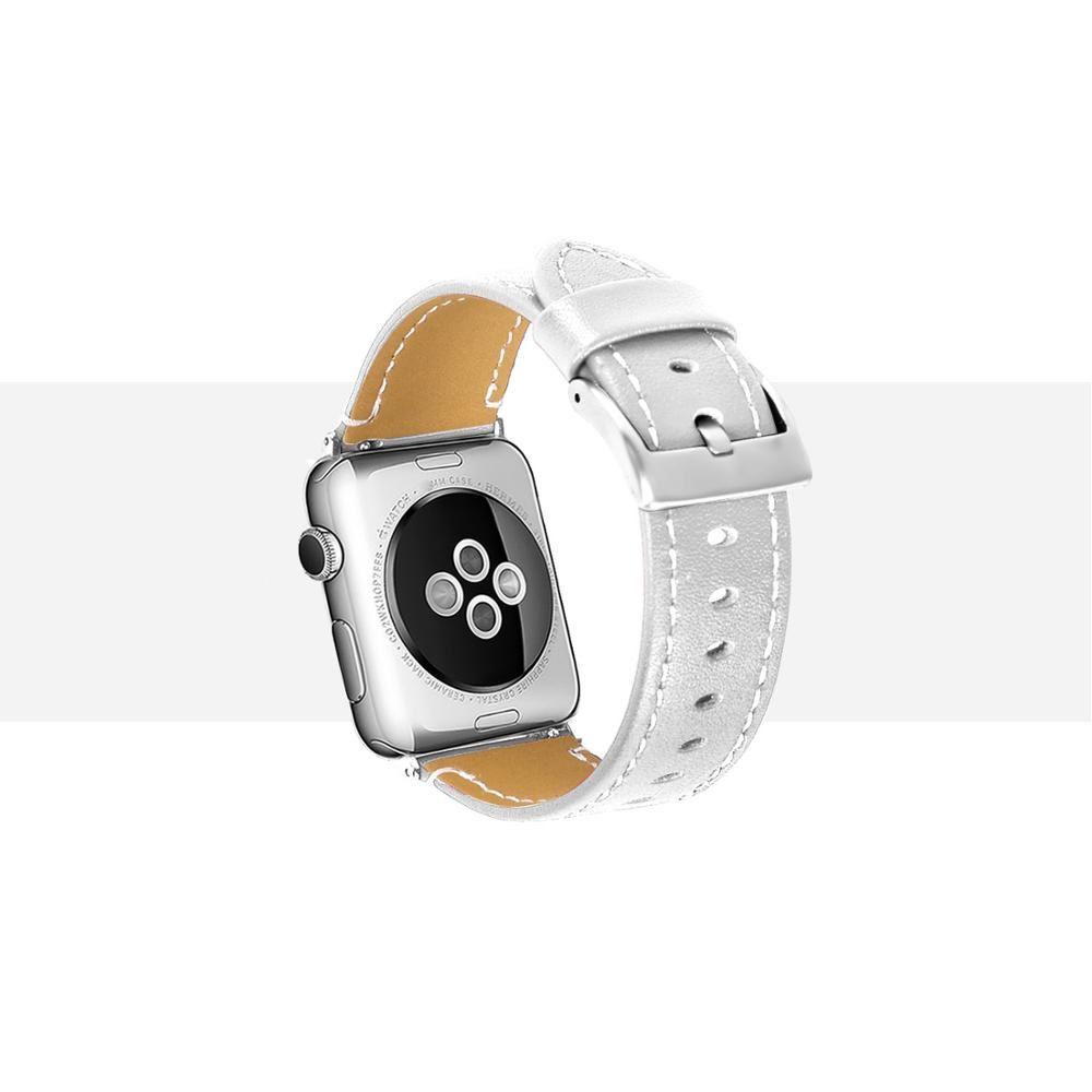 Pulseira de Couro compatível com Apple Watch 44mm e 42mm (BRANCO)
