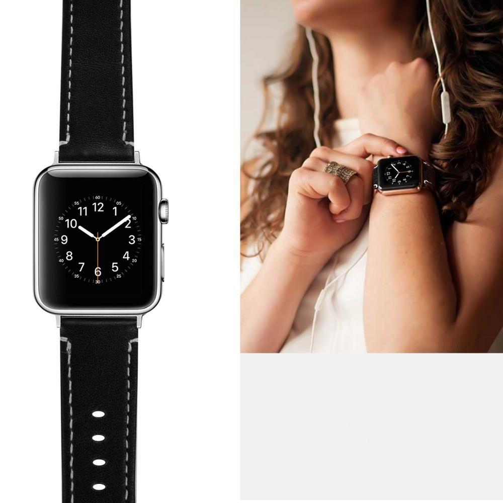Pulseira de Couro compatível com Apple Watch 40mm e 38mm (PRETO)