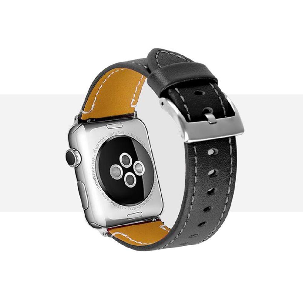 Pulseira de Couro compatível com Apple Watch 44mm e 42mm (PRETO)