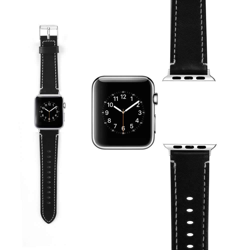 Pulseira de Couro para Apple Watch 44mm e 42mm (Preto)