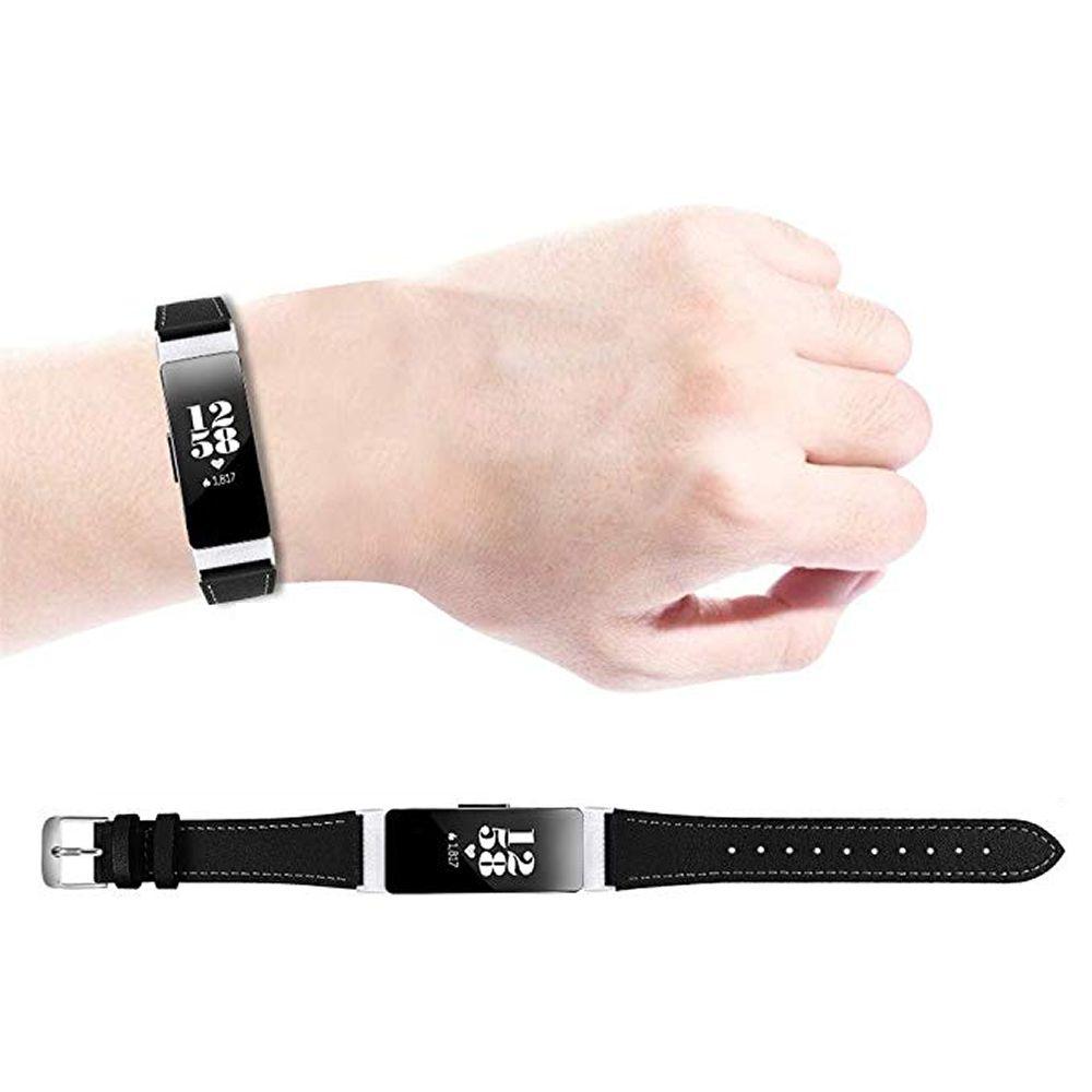 Pulseira de Couro para Fitbit Inspire e Fitbit Inspire HR (Preto)