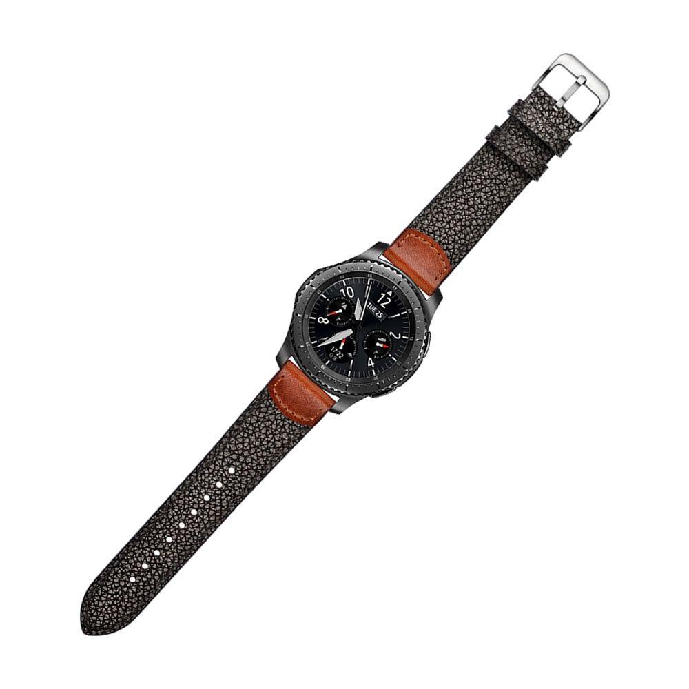 Pulseira Couro compatível com Samsung Galaxy Watch 3 45mm - Galaxy Watch 46mm - Gear S3 Frontier - Gear S3 Classic - Amazfit GTR 47mm (Preto / Marrom)